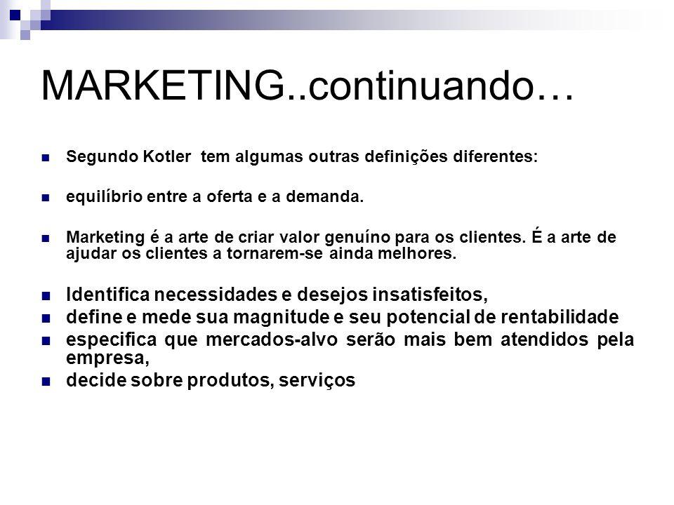 MARKETING..continuando… Segundo Kotler tem algumas outras definições diferentes: equilíbrio entre a oferta e a demanda. Marketing é a arte de criar va