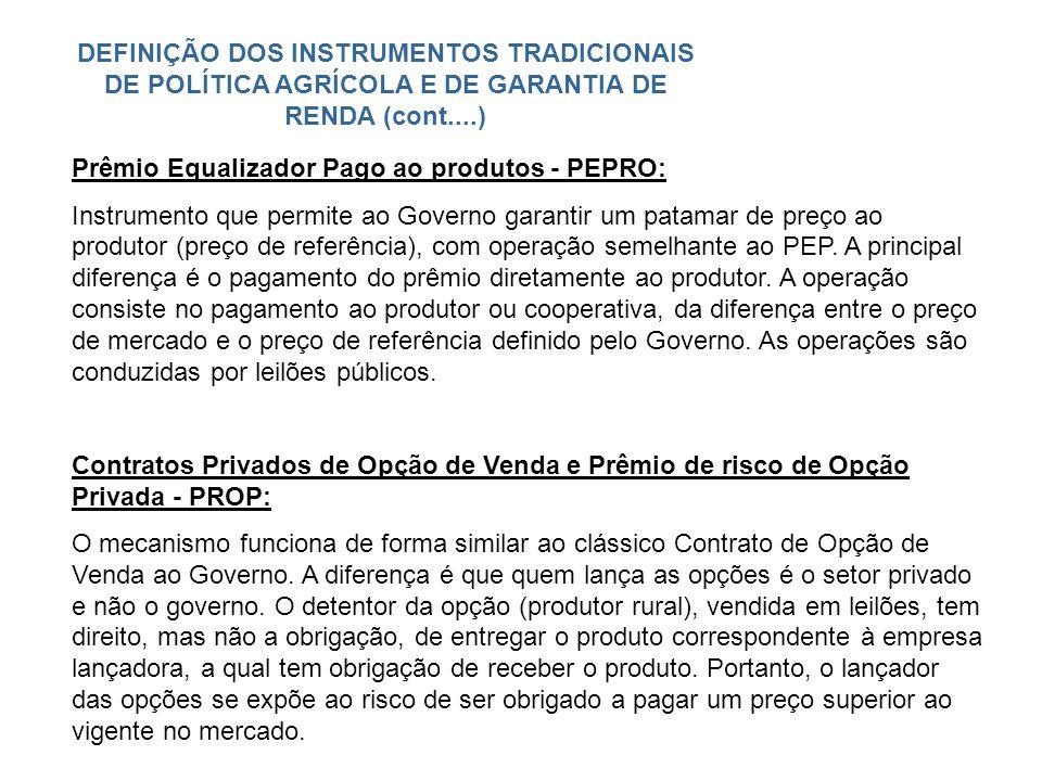 DEFINIÇÃO DOS INSTRUMENTOS TRADICIONAIS DE POLÍTICA AGRÍCOLA E DE GARANTIA DE RENDA (cont....) Prêmio Equalizador Pago ao produtos - PEPRO: Instrument