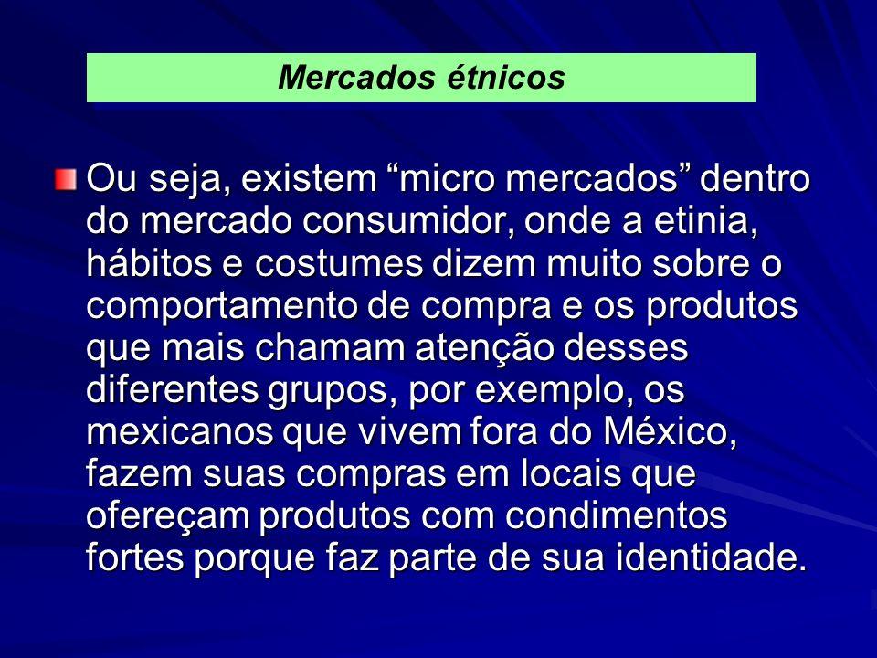Ou seja, existem micro mercados dentro do mercado consumidor, onde a etinia, hábitos e costumes dizem muito sobre o comportamento de compra e os produtos que mais chamam atenção desses diferentes grupos, por exemplo, os mexicanos que vivem fora do México, fazem suas compras em locais que ofereçam produtos com condimentos fortes porque faz parte de sua identidade.