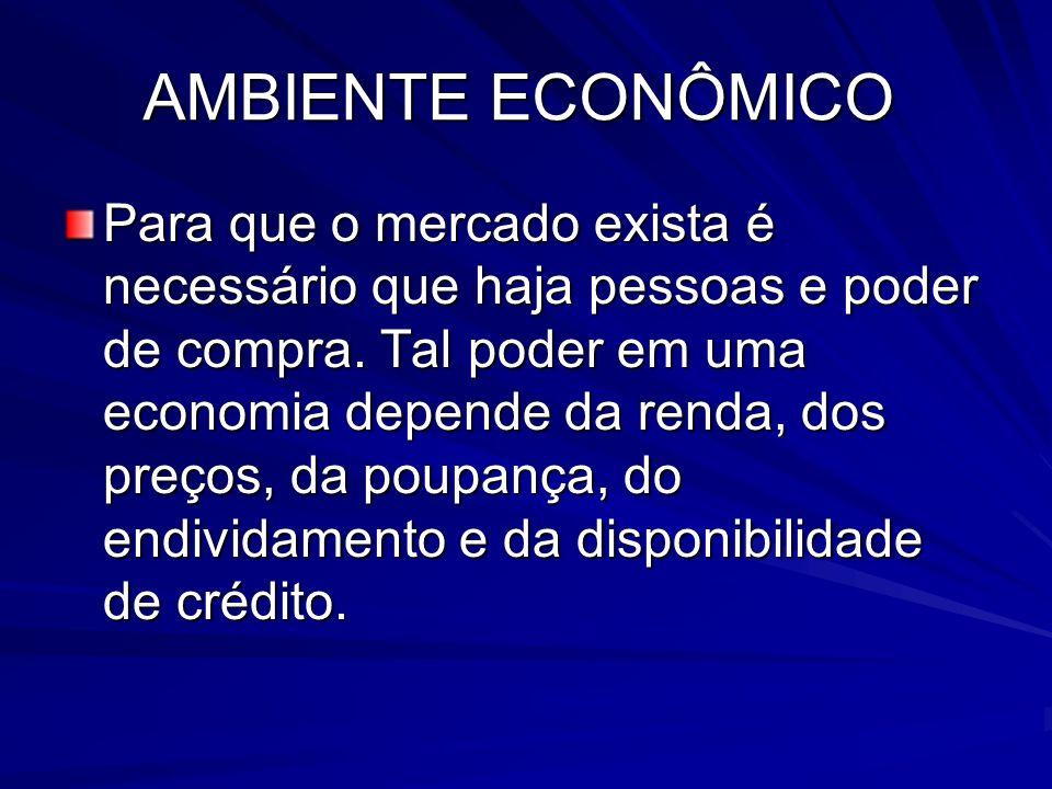 AMBIENTE ECONÔMICO Para que o mercado exista é necessário que haja pessoas e poder de compra. Tal poder em uma economia depende da renda, dos preços,