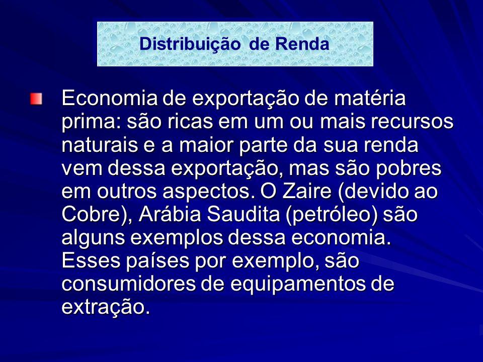 Economia de exportação de matéria prima: são ricas em um ou mais recursos naturais e a maior parte da sua renda vem dessa exportação, mas são pobres em outros aspectos.