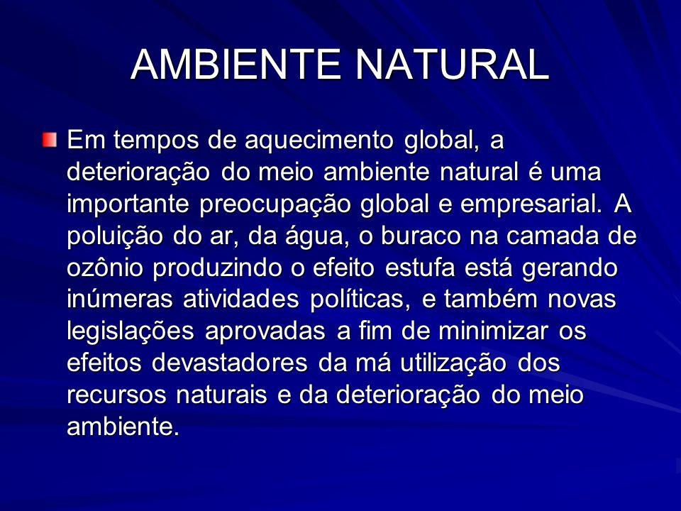 AMBIENTE NATURAL Em tempos de aquecimento global, a deterioração do meio ambiente natural é uma importante preocupação global e empresarial. A poluiçã