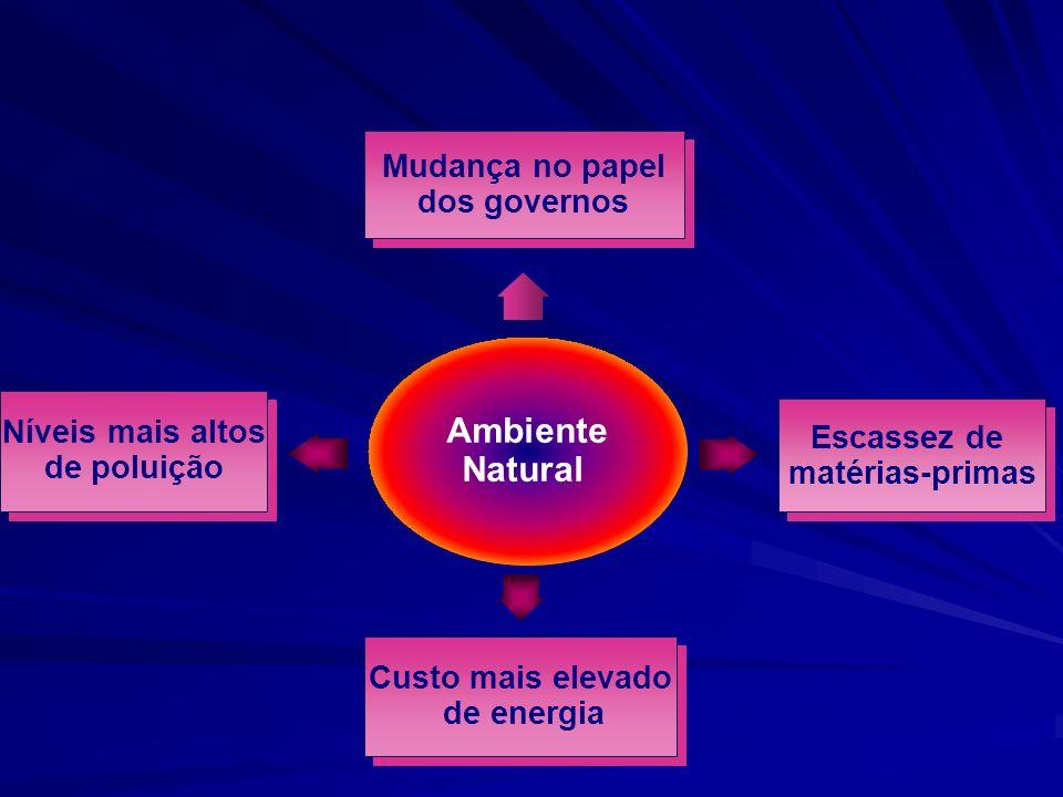 Ambiente Natural Níveis mais altos de poluição Níveis mais altos de poluição Custo mais elevado de energia Custo mais elevado de energia Escassez de matérias-primas Escassez de matérias-primas Mudança no papel dos governos Mudança no papel dos governos