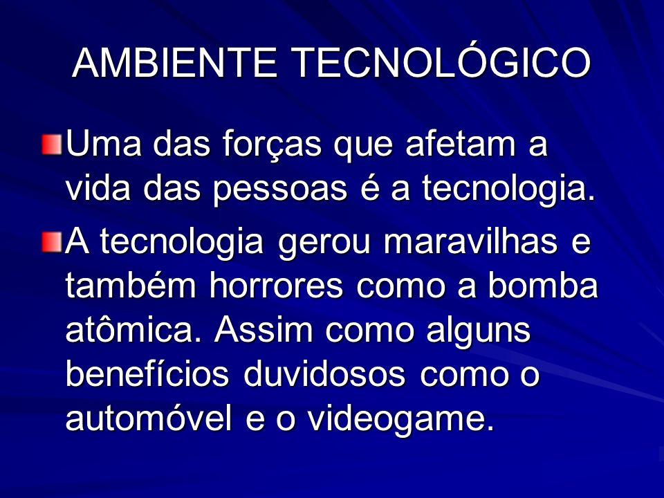AMBIENTE TECNOLÓGICO Uma das forças que afetam a vida das pessoas é a tecnologia. A tecnologia gerou maravilhas e também horrores como a bomba atômica