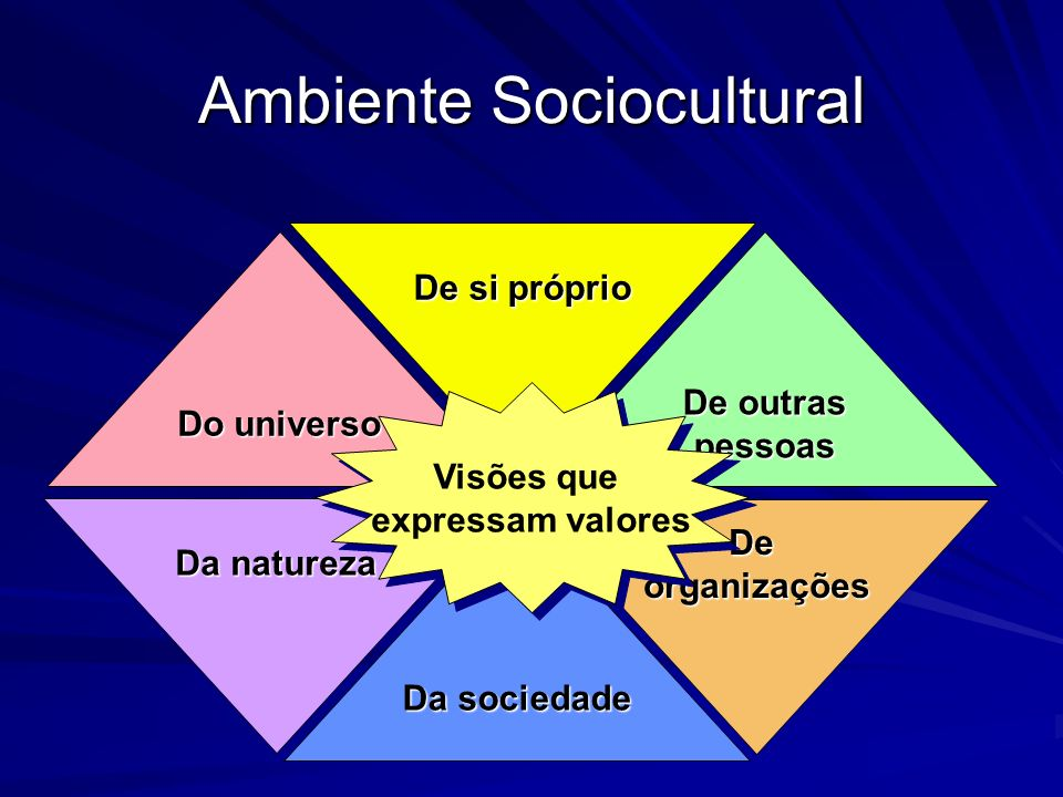 Ambiente Sociocultural Deorganizações Da natureza De si próprio Da sociedade Do universo De outras pessoas Visões que expressam valores Visões que expressam valores