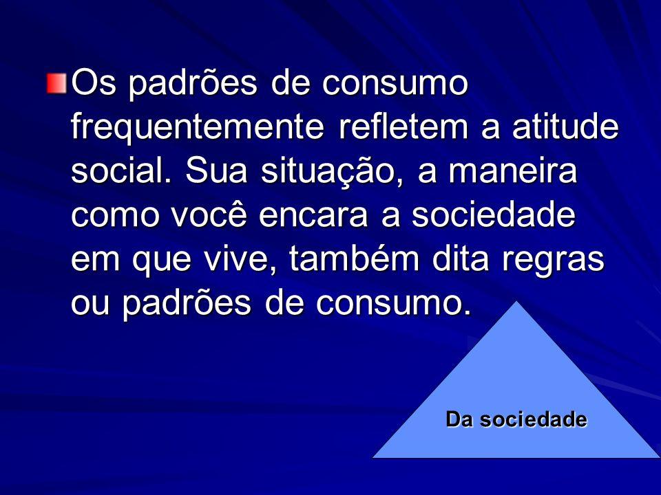 Os padrões de consumo frequentemente refletem a atitude social. Sua situação, a maneira como você encara a sociedade em que vive, também dita regras o