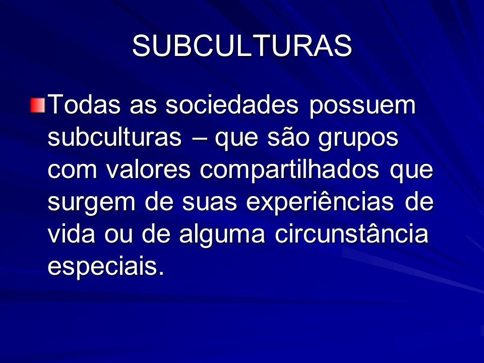 SUBCULTURAS Todas as sociedades possuem subculturas – que são grupos com valores compartilhados que surgem de suas experiências de vida ou de alguma circunstância especiais.
