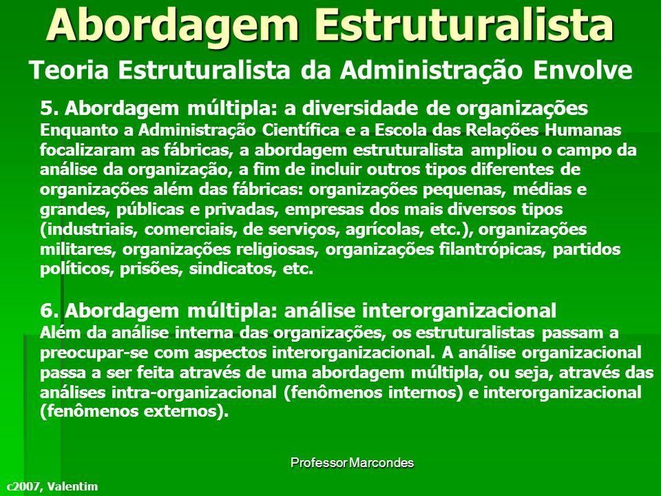 Professor Marcondes c2007, Valentim Teoria Estruturalista da Administração Envolve 5. Abordagem múltipla: a diversidade de organizações Enquanto a Adm