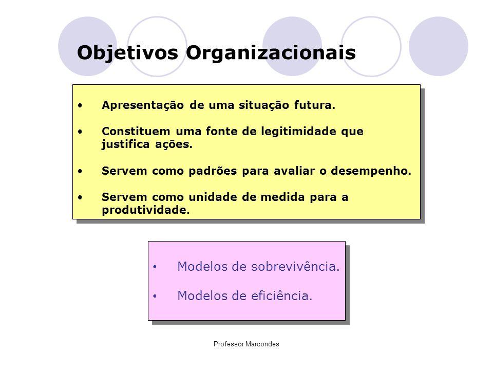 Professor Marcondes Objetivos Organizacionais Apresentação de uma situação futura. Constituem uma fonte de legitimidade que justifica ações. Servem co
