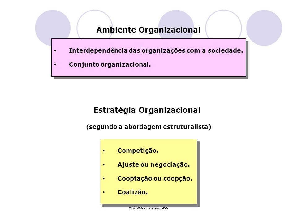 Professor Marcondes Ambiente Organizacional Interdependência das organizações com a sociedade. Conjunto organizacional. Interdependência das organizaç