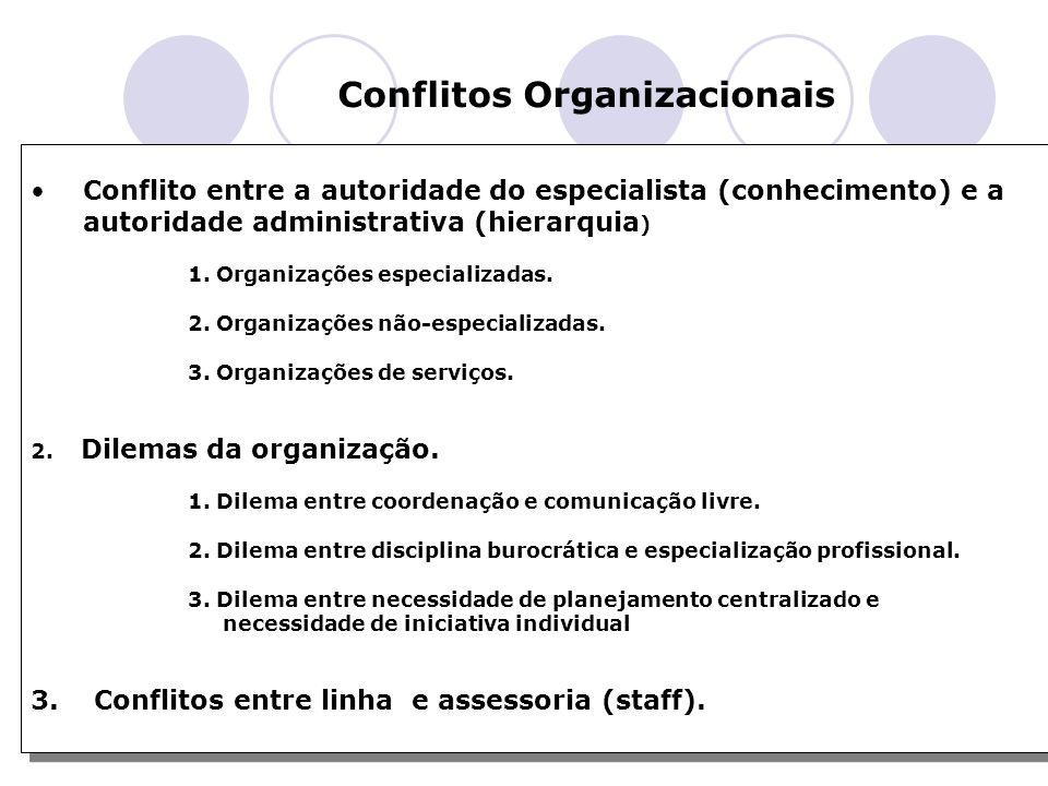 Professor Marcondes Conflitos Organizacionais Conflito entre a autoridade do especialista (conhecimento) e a autoridade administrativa (hierarquia ) 1