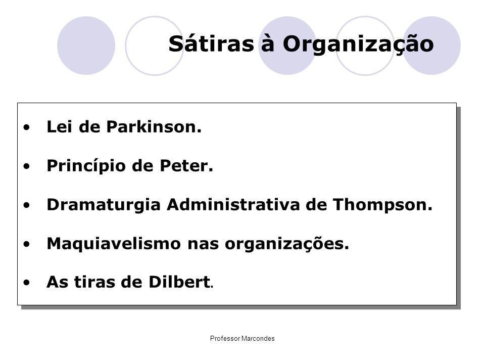 Professor Marcondes Sátiras à Organização Lei de Parkinson. Princípio de Peter. Dramaturgia Administrativa de Thompson. Maquiavelismo nas organizações