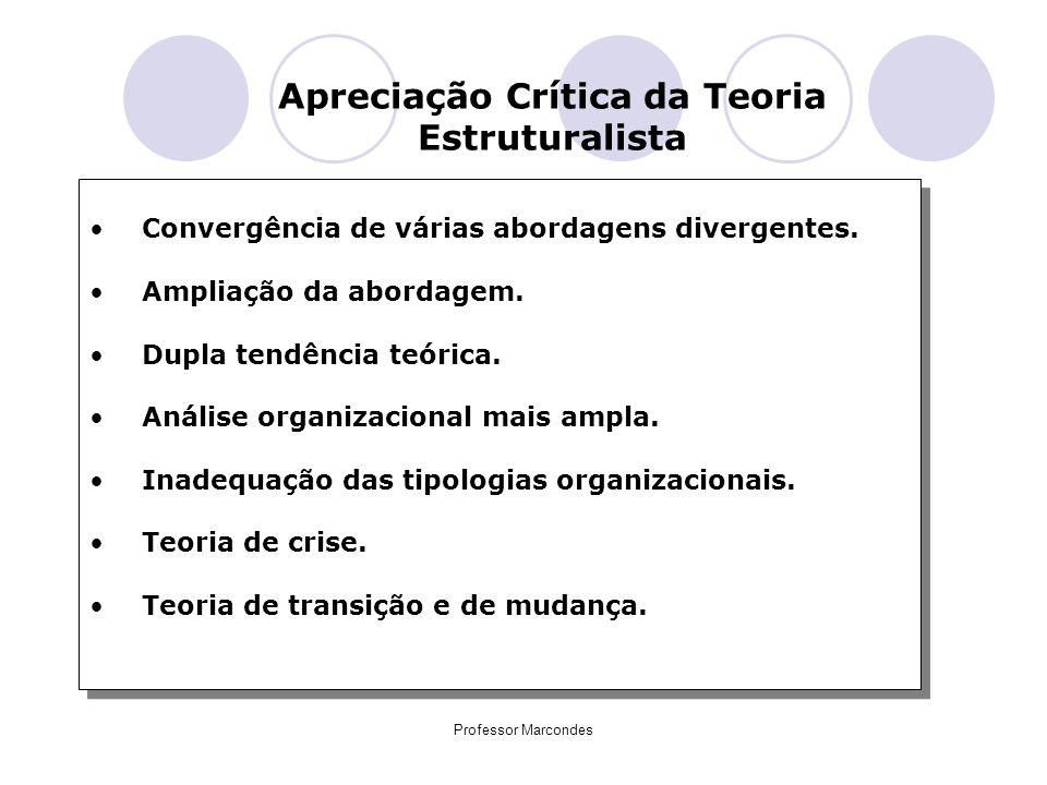 Professor Marcondes Apreciação Crítica da Teoria Estruturalista Convergência de várias abordagens divergentes. Ampliação da abordagem. Dupla tendência