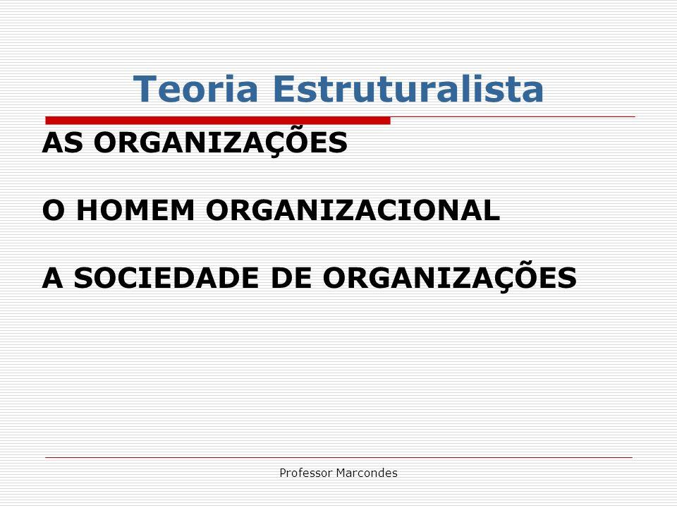 Professor Marcondes AS ORGANIZAÇÕES As organizações constituem a forma dominante de instituição da sociedade moderna: são a manifestação de uma sociedade especializada e interdependente que se caracteriza por um crescente padrão de vida.