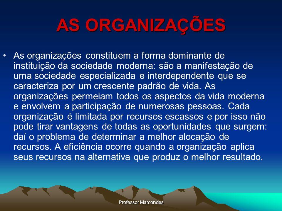 Professor Marcondes AS ORGANIZAÇÕES As organizações constituem a forma dominante de instituição da sociedade moderna: são a manifestação de uma socied