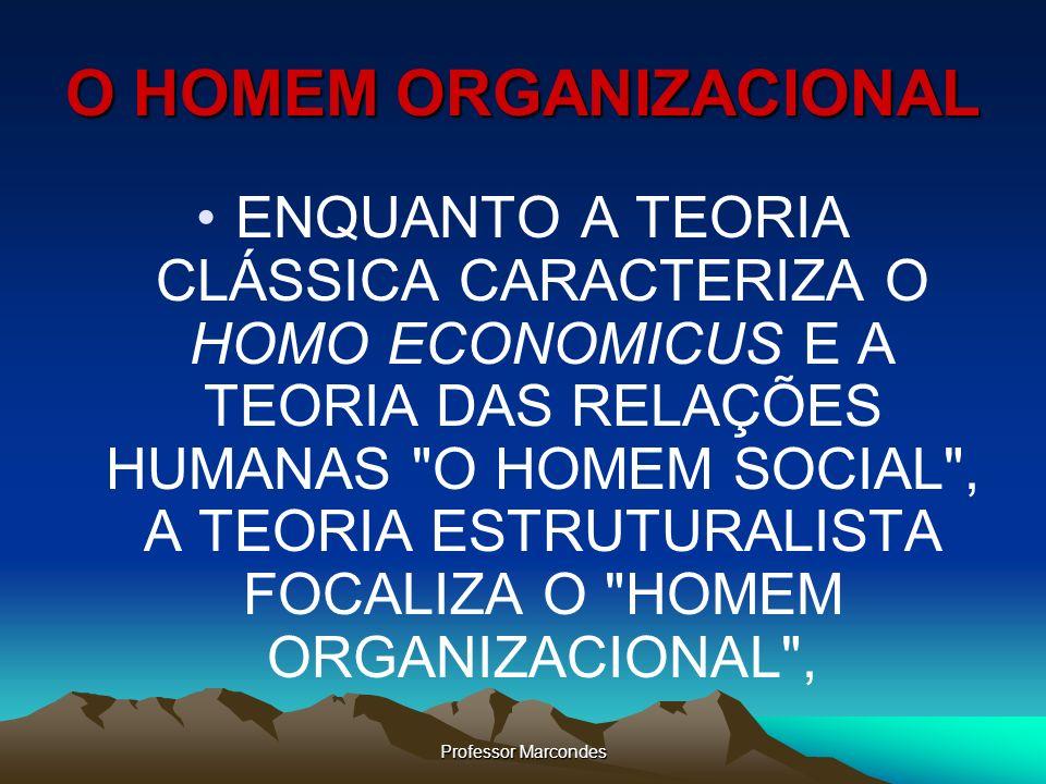 Professor Marcondes O HOMEM ORGANIZACIONAL ENQUANTO A TEORIA CLÁSSICA CARACTERIZA O HOMO ECONOMICUS E A TEORIA DAS RELAÇÕES HUMANAS