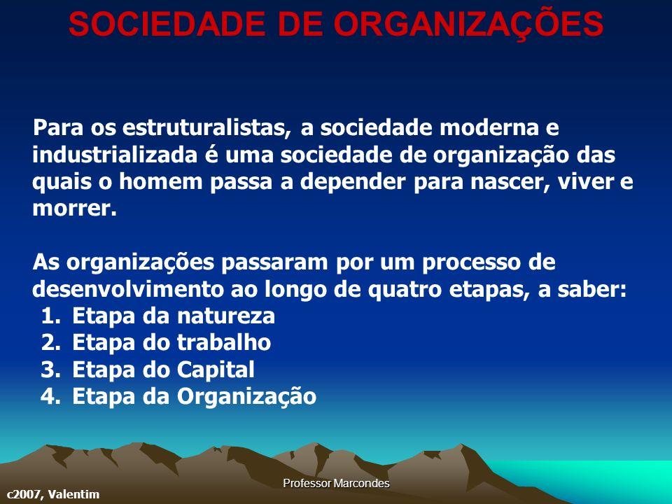 Professor Marcondes c2007, Valentim Para os estruturalistas, a sociedade moderna e industrializada é uma sociedade de organização das quais o homem pa
