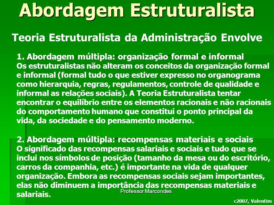 Professor Marcondes c2007, Valentim Teoria Estruturalista da Administração Envolve 1.Abordagem múltipla: organização formal e informal Os estruturalis
