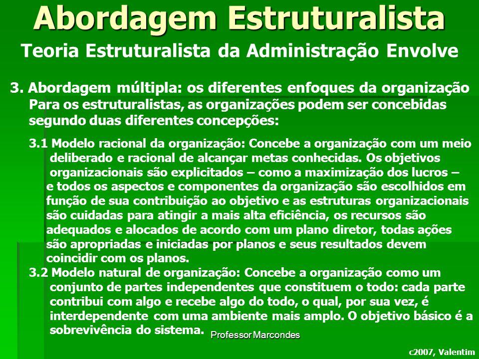 Professor Marcondes c2007, Valentim Teoria Estruturalista da Administração Envolve 3. Abordagem múltipla: os diferentes enfoques da organização Para o