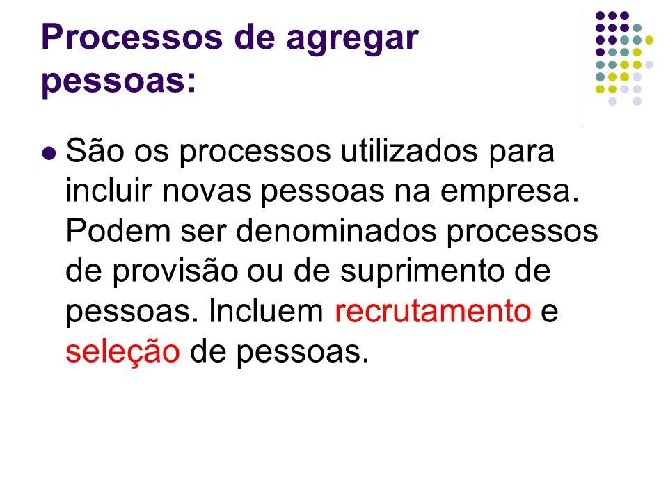 Processos de agregar pessoas: São os processos utilizados para incluir novas pessoas na empresa. Podem ser denominados processos de provisão ou de sup