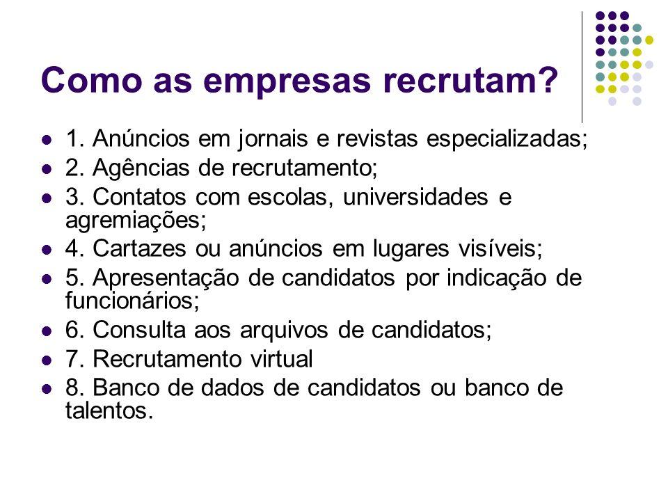 Como as empresas recrutam? 1. Anúncios em jornais e revistas especializadas; 2. Agências de recrutamento; 3. Contatos com escolas, universidades e agr