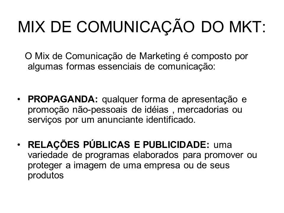 MIX DE COMUNICAÇÃO DO MKT: O Mix de Comunicação de Marketing é composto por algumas formas essenciais de comunicação: PROPAGANDA: qualquer forma de ap