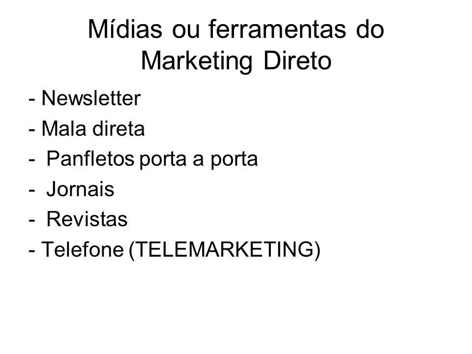 Mídias ou ferramentas do Marketing Direto - Newsletter - Mala direta -Panfletos porta a porta -Jornais -Revistas - Telefone (TELEMARKETING)