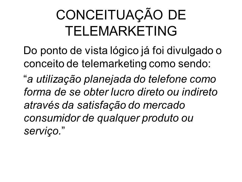 CONCEITUAÇÃO DE TELEMARKETING Do ponto de vista lógico já foi divulgado o conceito de telemarketing como sendo: a utilização planejada do telefone com