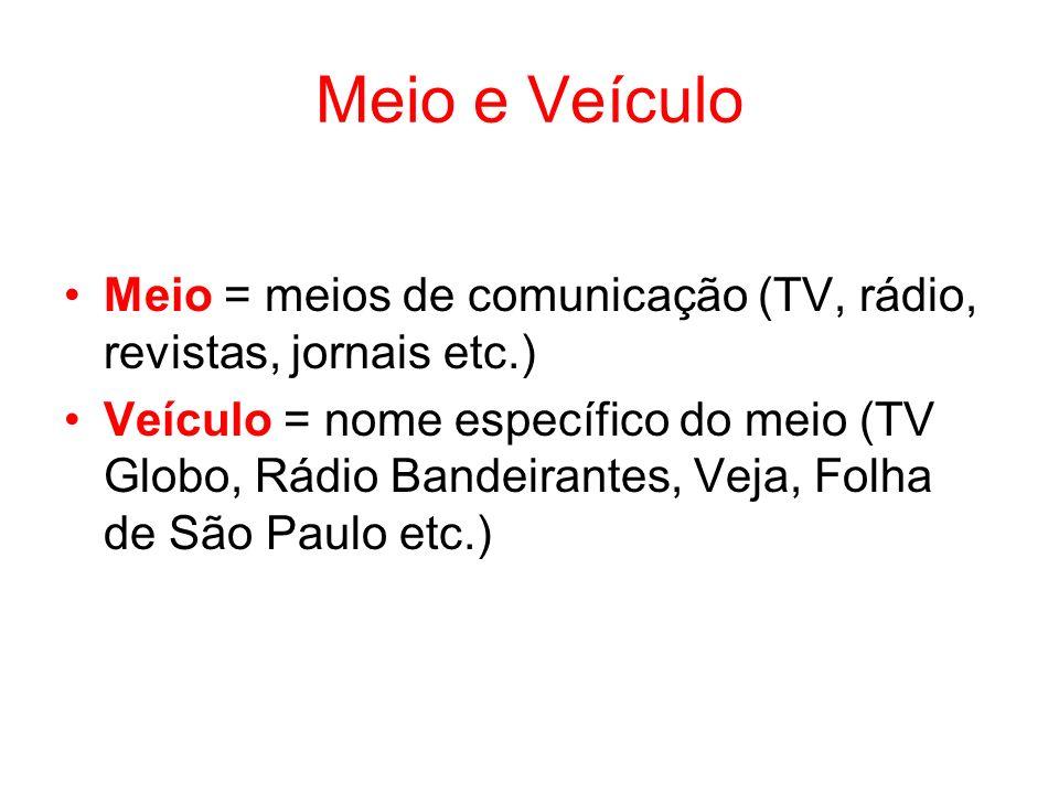 Meio e Veículo Meio = meios de comunicação (TV, rádio, revistas, jornais etc.) Veículo = nome específico do meio (TV Globo, Rádio Bandeirantes, Veja,