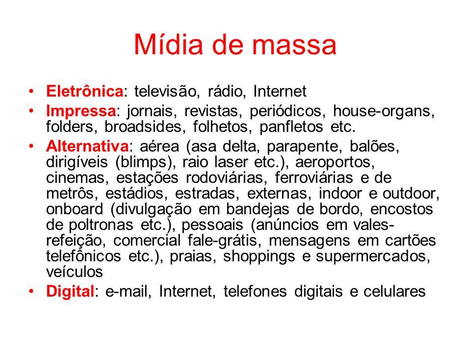 Mídia de massa Eletrônica: televisão, rádio, Internet Impressa: jornais, revistas, periódicos, house-organs, folders, broadsides, folhetos, panfletos