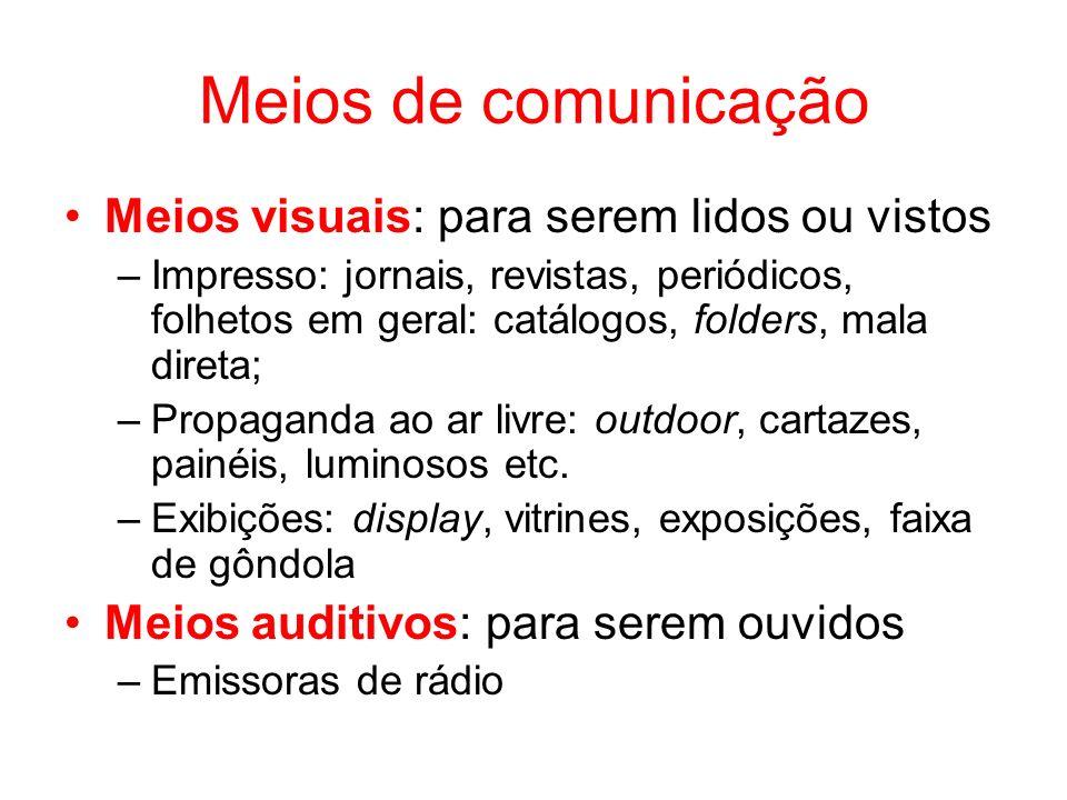 Meios de comunicação Meios visuais: para serem lidos ou vistos –Impresso: jornais, revistas, periódicos, folhetos em geral: catálogos, folders, mala d