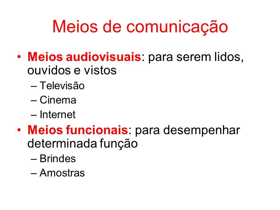 Meios de comunicação Meios audiovisuais: para serem lidos, ouvidos e vistos –Televisão –Cinema –Internet Meios funcionais: para desempenhar determinad