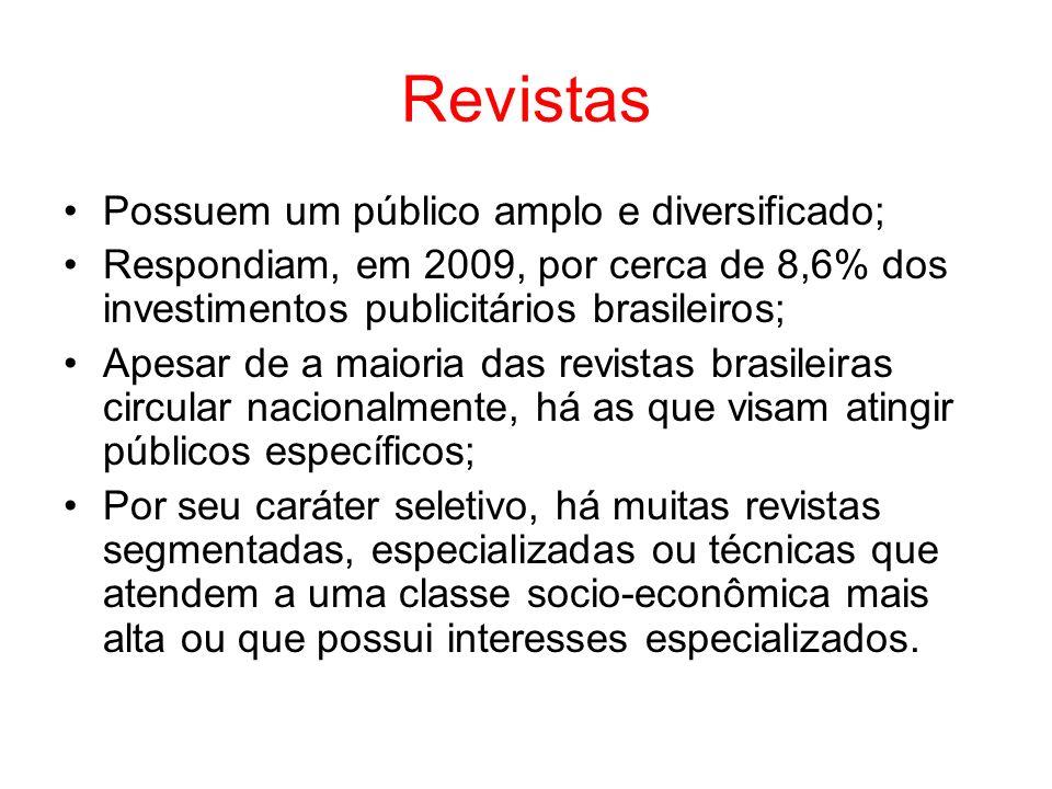 Revistas Possuem um público amplo e diversificado; Respondiam, em 2009, por cerca de 8,6% dos investimentos publicitários brasileiros; Apesar de a mai