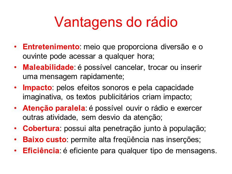 Vantagens do rádio Entretenimento: meio que proporciona diversão e o ouvinte pode acessar a qualquer hora; Maleabilidade: é possível cancelar, trocar