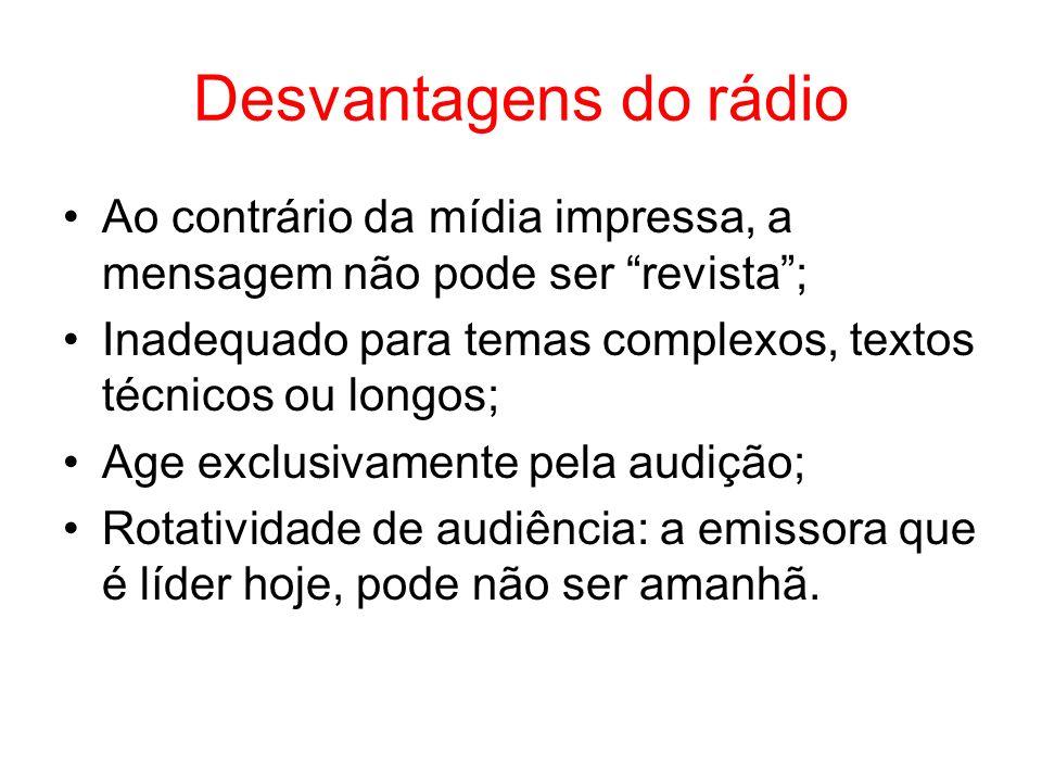 Desvantagens do rádio Ao contrário da mídia impressa, a mensagem não pode ser revista; Inadequado para temas complexos, textos técnicos ou longos; Age