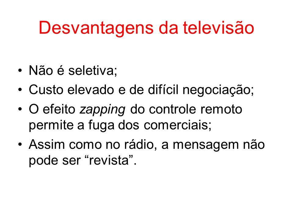Desvantagens da televisão Não é seletiva; Custo elevado e de difícil negociação; O efeito zapping do controle remoto permite a fuga dos comerciais; As