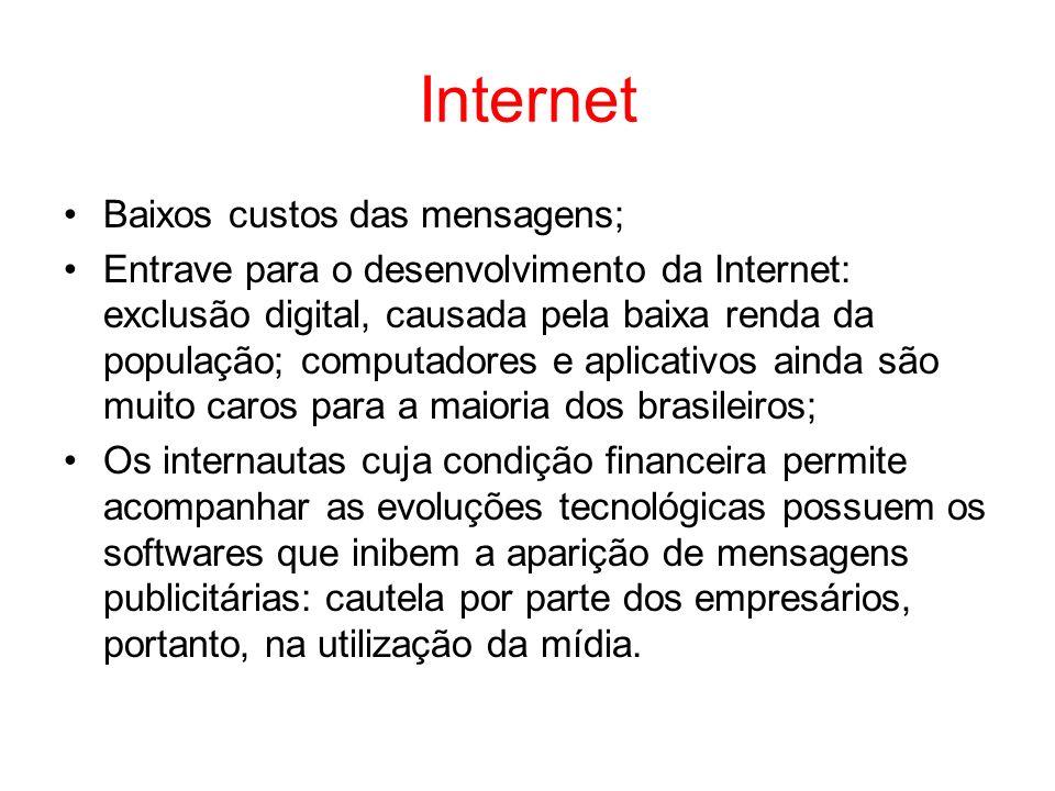 Internet Baixos custos das mensagens; Entrave para o desenvolvimento da Internet: exclusão digital, causada pela baixa renda da população; computadore