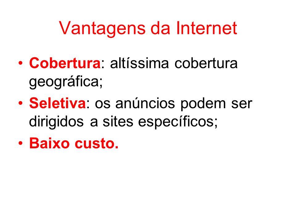 Vantagens da Internet Cobertura: altíssima cobertura geográfica; Seletiva: os anúncios podem ser dirigidos a sites específicos; Baixo custo.