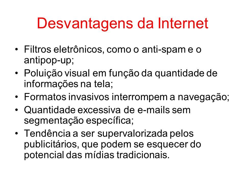 Desvantagens da Internet Filtros eletrônicos, como o anti-spam e o antipop-up; Poluição visual em função da quantidade de informações na tela; Formato