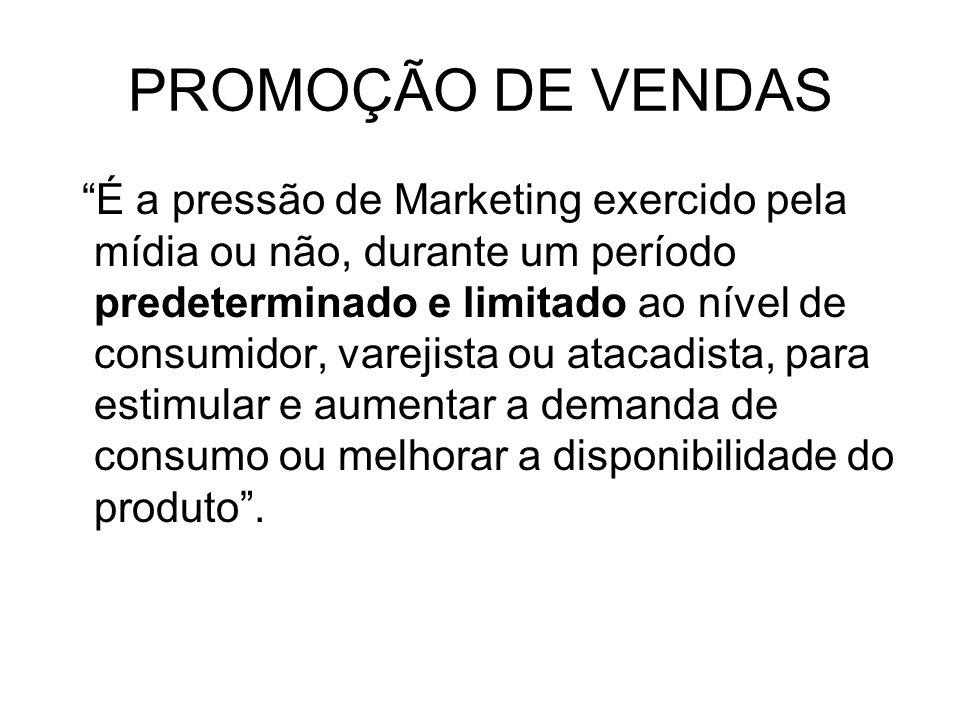 É a pressão de Marketing exercido pela mídia ou não, durante um período predeterminado e limitado ao nível de consumidor, varejista ou atacadista, par