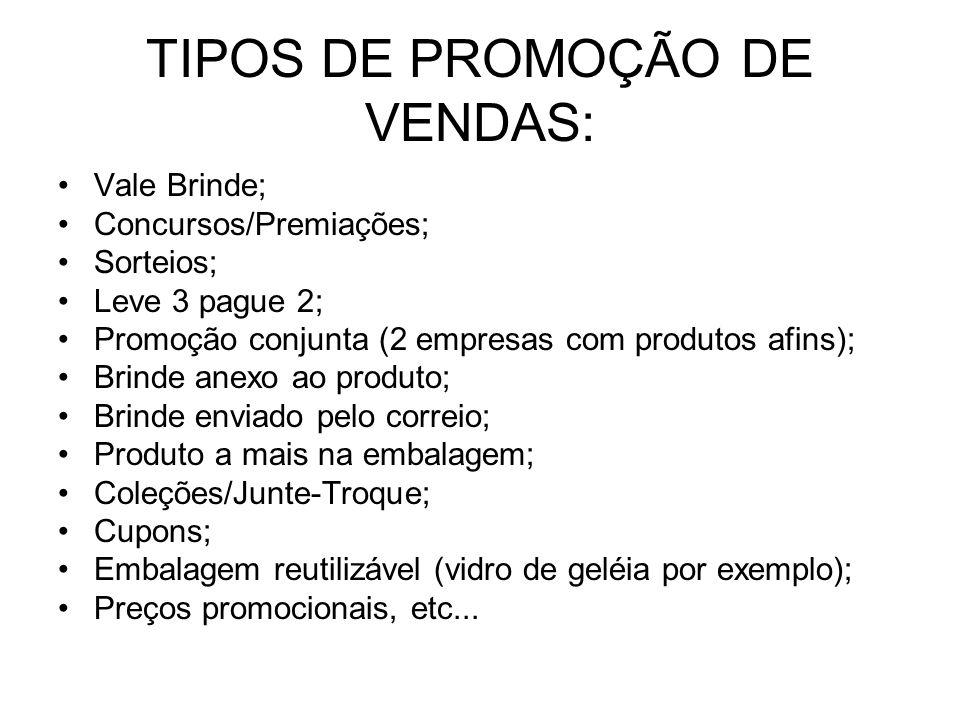 TIPOS DE PROMOÇÃO DE VENDAS: Vale Brinde; Concursos/Premiações; Sorteios; Leve 3 pague 2; Promoção conjunta (2 empresas com produtos afins); Brinde an