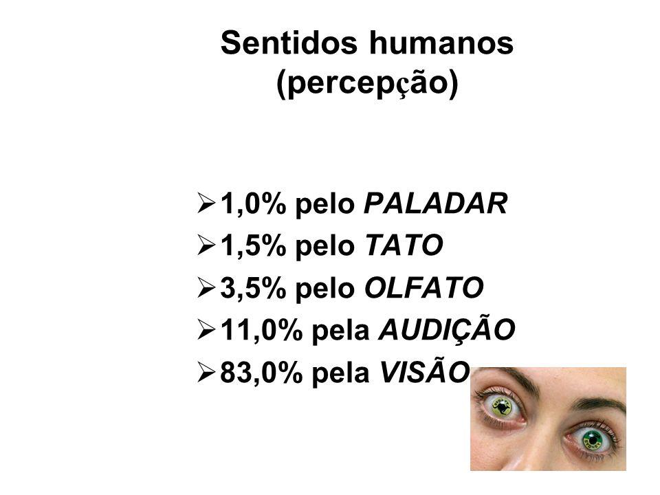 Sentidos humanos (percep ç ão) 1,0% pelo PALADAR 1,5% pelo TATO 3,5% pelo OLFATO 11,0% pela AUDIÇÃO 83,0% pela VISÃO