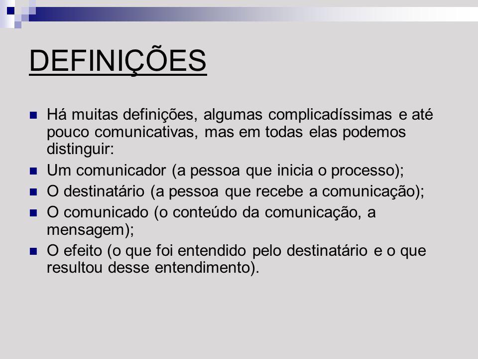 DEFINIÇÕES Há muitas definições, algumas complicadíssimas e até pouco comunicativas, mas em todas elas podemos distinguir: Um comunicador (a pessoa qu