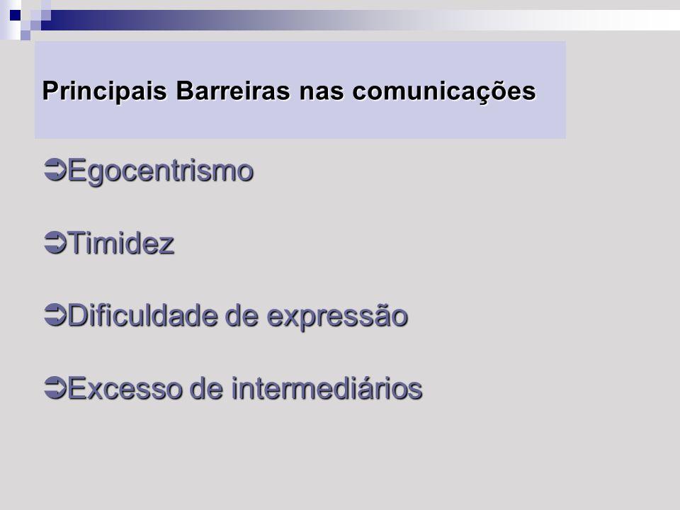 Principais Barreiras nas comunicações Egocentrismo Egocentrismo Timidez Timidez Dificuldade de expressão Dificuldade de expressão Excesso de intermedi