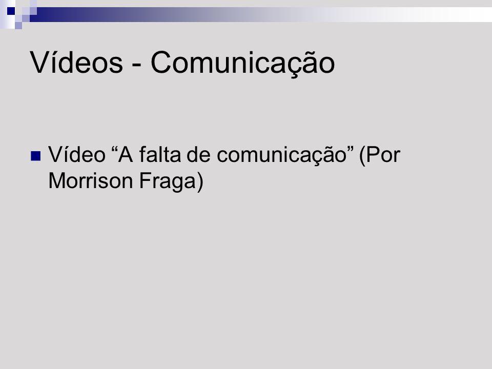 Vídeos - Comunicação Vídeo A falta de comunicação (Por Morrison Fraga)