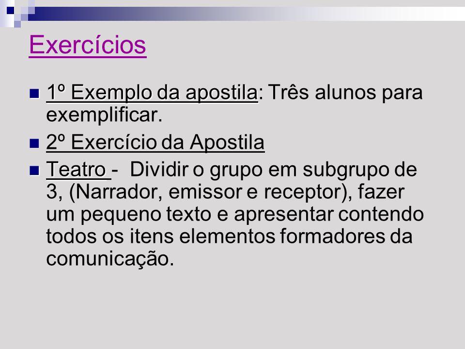 Exercícios 1º Exemplo da apostila 1º Exemplo da apostila: Três alunos para exemplificar. 2º Exercício da Apostila Teatro Teatro - Dividir o grupo em s