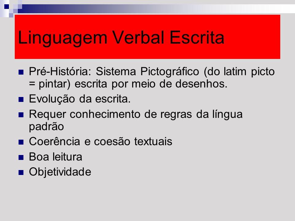 Linguagem Verbal Escrita Pré-História: Sistema Pictográfico (do latim picto = pintar) escrita por meio de desenhos. Evolução da escrita. Requer conhec