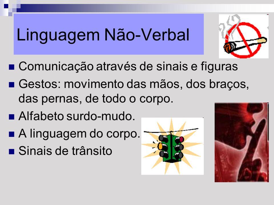 Linguagem Não-Verbal Comunicação através de sinais e figuras Gestos: movimento das mãos, dos braços, das pernas, de todo o corpo. Alfabeto surdo-mudo.