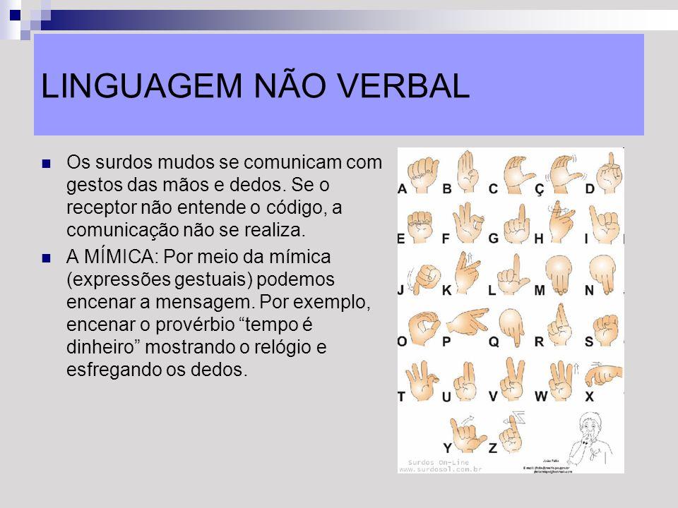 LINGUAGEM NÃO VERBAL Os surdos mudos se comunicam com gestos das mãos e dedos. Se o receptor não entende o código, a comunicação não se realiza. A MÍM