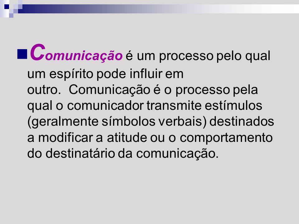 C omunicação é um processo pelo qual um espírito pode influir em outro. Comunicação é o processo pela qual o comunicador transmite estímulos (geralmen